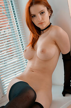 Ulya Sexy Redhead Girl In Black Stockings