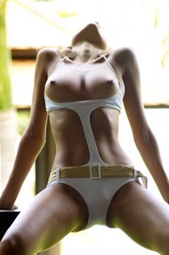 Luba Shumeyko In White Swimsuit