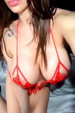 Barbara In Red Mesh Lingerie