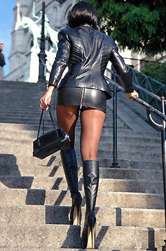 Skin Tight Leather Milf in Public