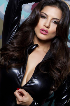 Sunny Leone Sexy Black Latex Outfit